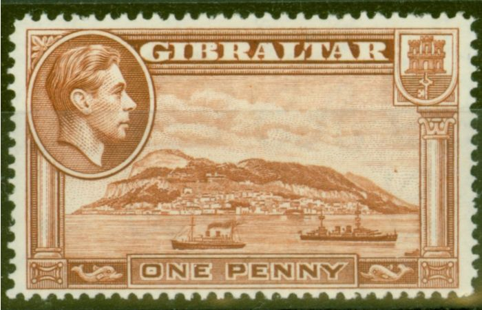 Old Postage Stamp from Gibraltar 1938 1d Yellow-Brown SG122 P.14 Fine Lightly Mtd Mint
