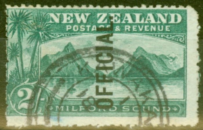 Collectible Postage Stamp from New Zealand 1907 2s Blue-Green SG066 Fine Used