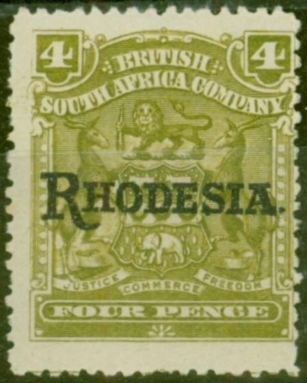 Valuable Postage Stamp from Rhodesia 1909 4d Olive SG105 Fine Mtd Mint