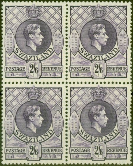 Valuable Postage Stamp from Swaziland 1943 2s6d Violet SG36a P.13.5 x 14 V.F MNH Block of 4