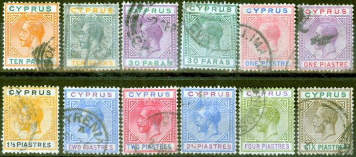 Cyprus 1921-23 set of 12 to 6pi SG85-96 Fine Used