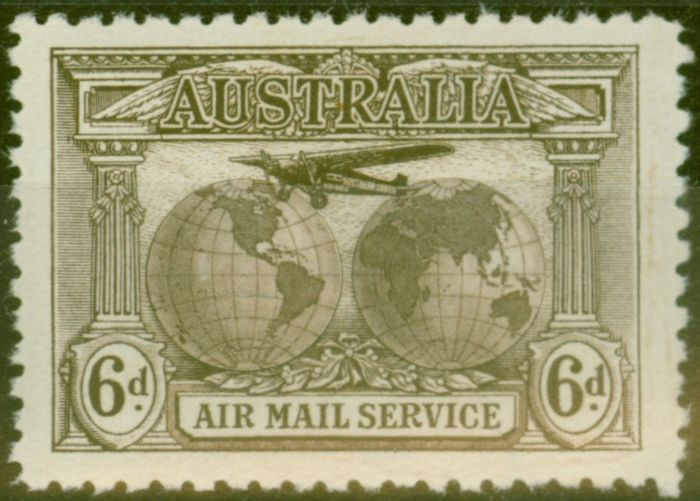 Collectible Postage Stamp from Australia 1931 Air 6s Sepia SG139 Fine Lightly Mtd Mint