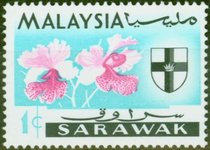 Old Postage Stamp from Sarawak 1965 1c Vanda Hookeriana SG212c Grey Omitted V.F MNH