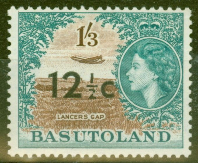 Rare Postage Stamp from Basutoland 1961 12 1/2c on 1s3d Brown & Turq Green SG65 Type I Fine & Fresh VLMM