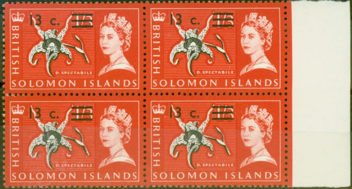 Rare Postage Stamp from Solomon Is 1966 13c on 1s3d Black & Rose-Red SG145B Superb MNH Block of 4