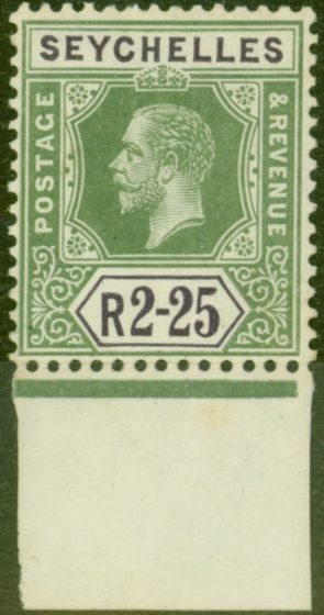 Rare Postage Stamp from Seychelles 1918 2R25 Yellow-Green & Violet SG81 Fine MNH
