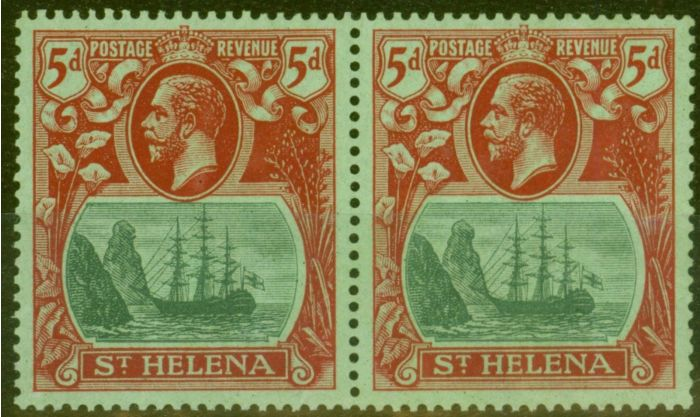 Rare Postage Stamp from St Helena 1927 5d Green & Dp Carmine-Green SG103c Cleft Rock Fine MNH in Pair