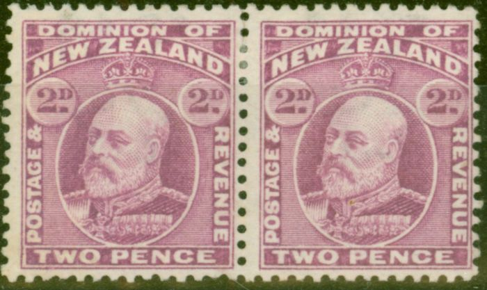Rare Postage Stamp from New Zealand 1909 2d Mauve SG388 P.14 x 14.25 Fine Mtd Mint Pair