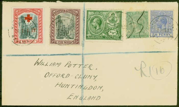 Rare Postage Stamp from Bahamas 1932 Combination Registered Cover to Huntingdon England Bearing