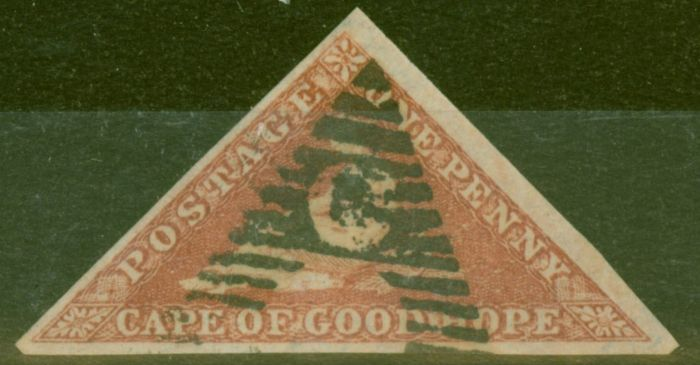 Collectible Postage Stamp from Cape of Good Hope 1853 1d Brick-Red SG3 V.F.U 3 Large Margins