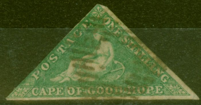 Collectible Postage Stamp from Cape of Good Hope 1863 1s Brt Emerald-Green SG21 Good Used