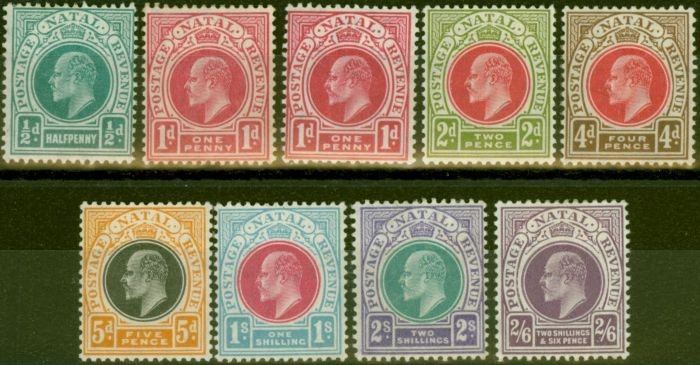 Rare Postage Stamp from Natal 1904-08 set of 9 SG146-157 Fine Lightly Mtd Mint