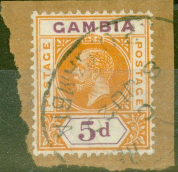 Rare Postage Stamp from Gambia 1912 5d Orange & Purple SG93var Broken Frame left centre V.F.U on Piece