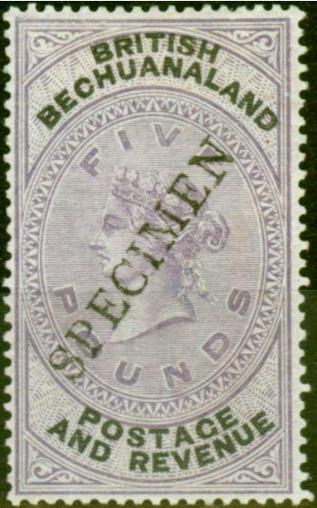 Valuable Postage Stamp from Bechuanaland 1888 £5 Lilac & Black Specimen SG215 Fine Mtd Mint