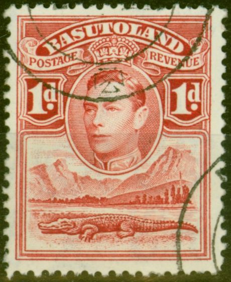Old Postage Stamp from Basutoland 1938 1d Scarlet SG19a Tower Flaw V.F.U