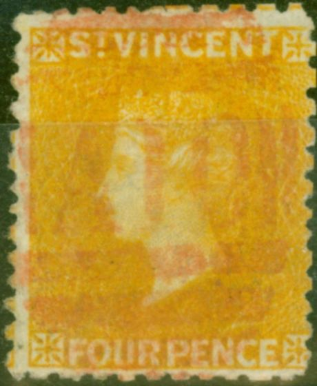 Rare Postage Stamp from St Vincent 1869 4d Yellow SG12 Fine Used