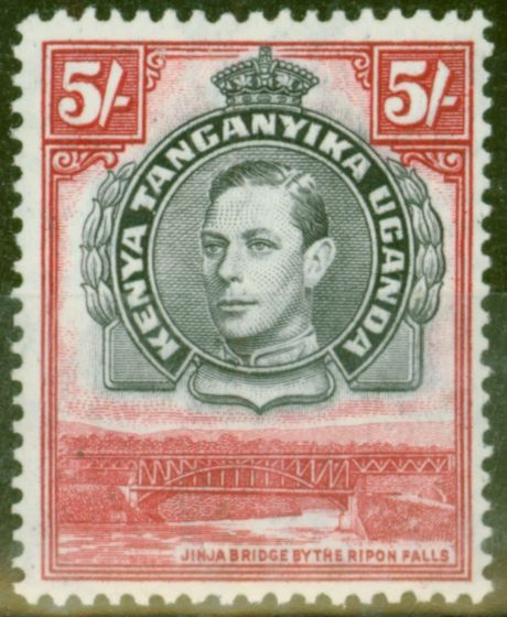 Old Postage Stamp from KUT 1944 5s Black & Carmine SG148b P.13.25 x 13.75 V.F Very Lightly Mtd Mint