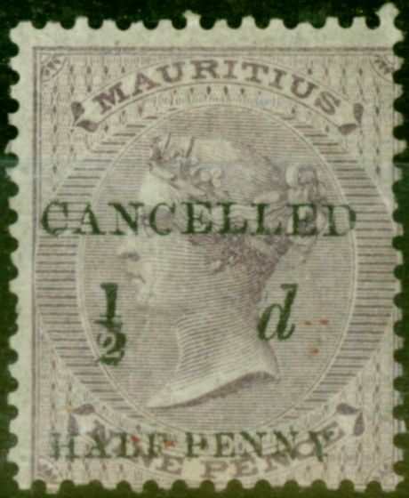 Collectible Postage Stamp from Mauritius 1876 1/2d on 9d Dull Purple SG78b Black Surcharge Cancelled Good Mtd Mint Scarce
