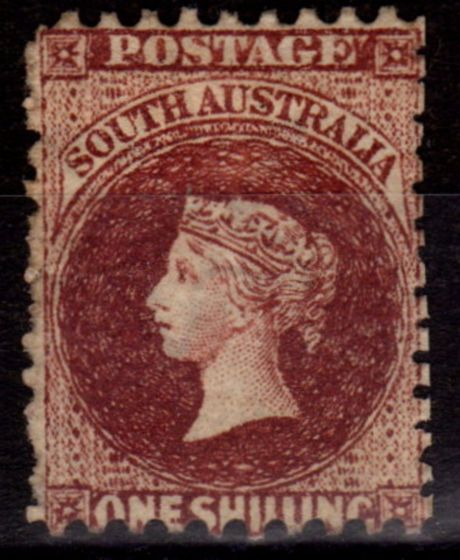 Collectible Postage Stamp from South Australia 1885 1s Reddish Lake-Brown SG142 P.10 x 11. -12.5 Fine Fresh LMM