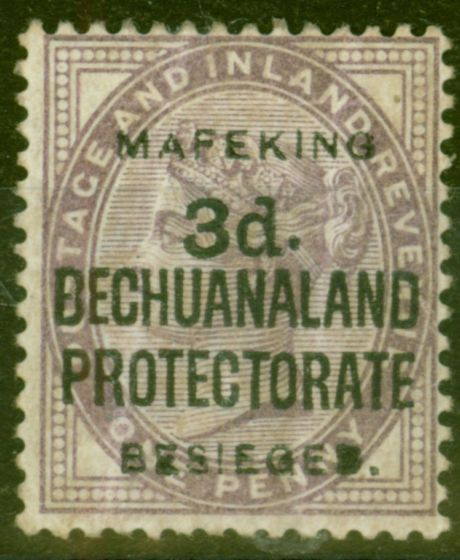 Valuable Postage Stamp from Mafeking 1900 3d on 1d Lilac SG12 Mtd Mint Large Part O.G  Scarce