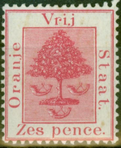 Old Postage Stamp from O.F.S 1891 6d Rose-Carmine SG6 Fine Mtd Mint