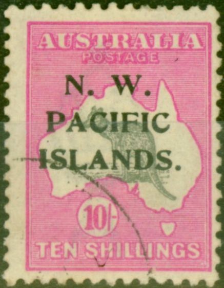 New Guinea 1919 10s Grey & Bright Pink SG117 Very Fine Used
