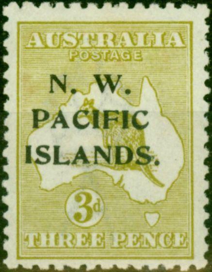 New Guinea 1919 3d Greenish Olive SG109 Fine & Fresh Mtd Mint
