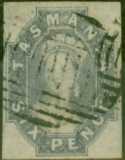 Valuable Postage Stamp from Tasmania 1863 6d Grey-Violet SG46 Fine Used 4 Clear Margins