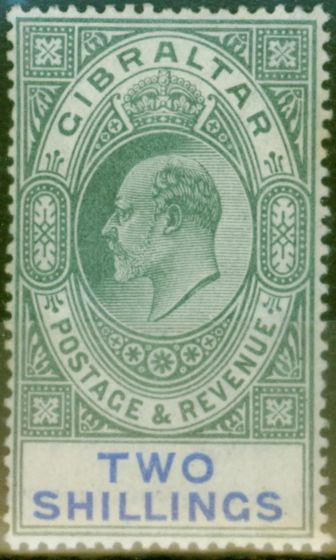 Valuable Postage Stamp from Gibraltar 1903 2s Green & Blue SG52 Fine & Fresh Lightly Mtd Mint (7)