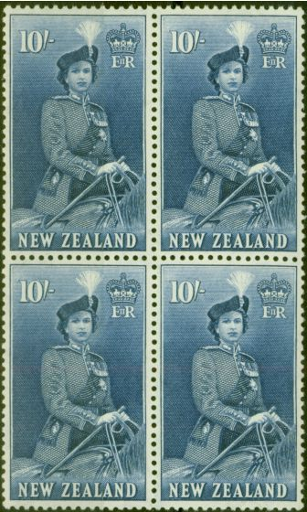 Valuable Postage Stamp from New Zealand 1954 10s Dp Ultramarine SG736 V.F MNH Block of 4
