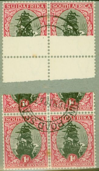 Rare Postage Stamp from South Africa 1930 1d Black & Carmine SG43var Detached Paper Joined Through top 2 stamps in Used Block of 4