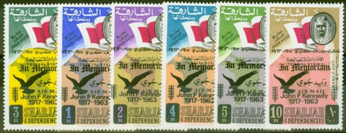 Collectible Postage Stamp from Sharjar & Dep 1964 Kennedy Memorial set of 6 (1st Issue) SG45-50 V.F MNH