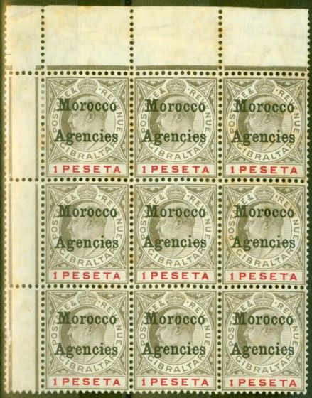 Collectible Postage Stamp from Morocco Agencies 1905 1p Black & Carmine SG29 Ave MNH Block of 9