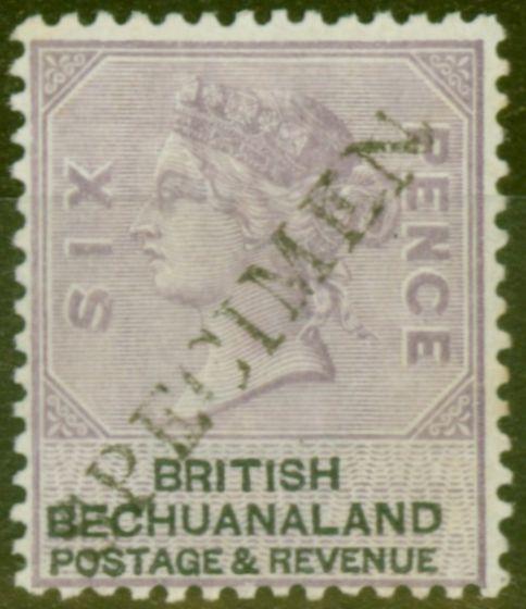 Old Postage Stamp from Bechuanaland 1888 6d Lilac & Black Specimen SG14s Fine & Fresh Mtd Mint