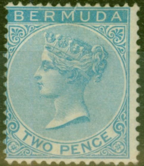Collectible Postage Stamp from Bermuda 1877 2d Brt Blue SG4 Fine Mtd Mint