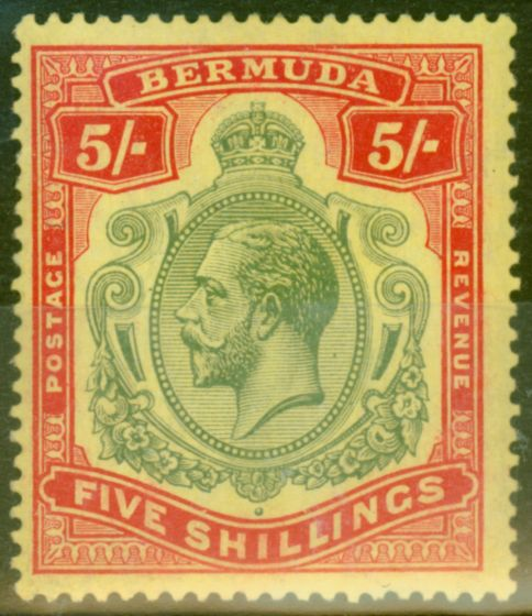 Collectible Postage Stamp from Bermuda 1918 5s Green & Dp Red-Yellow SG53var Duty Plate Flaw (11) Break in Line above S