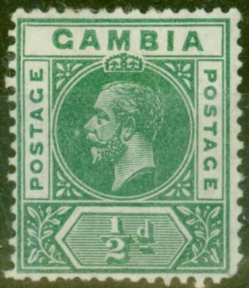 Collectible Postage Stamp from Gambia 1912 1/2d Dp Green SG86var Deformed B in GAMBIA Good Lightly Mtd Mint