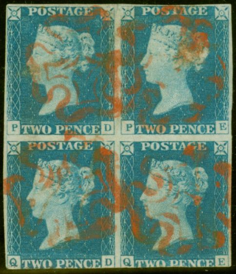 Valuable Postage Stamp from GB 1840 2d Blue Pl 1 PD-QE Block of 4 Red MX Nice appearance Very Rare Multiple