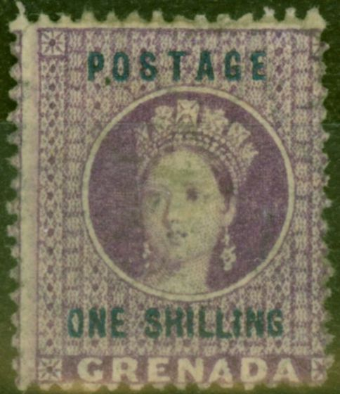 Valuable Postage Stamp from Grenada 1875 1s Dp Mauve SG13 Fine Mtd Mint Scarce