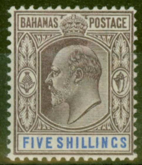 Valuable Postage Stamp from Bahamas 1902 5s Dull Purple & Blue SG69 V.F Very Lightly Mtd Mint