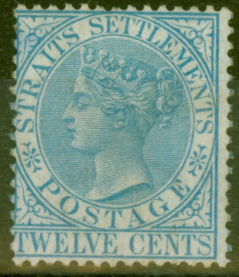 Collectible Postage Stamp from Straits Settlements 1867 12c Blue SG15 Fine Lightly Mtd Mint