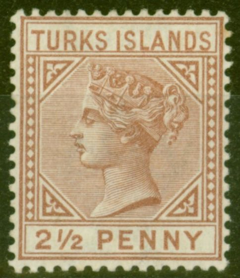 Collectible Postage Stamp from Turks & Caicos Is 1882 2 1-2d Red-Brown SG56 Fine Mtd Mint.