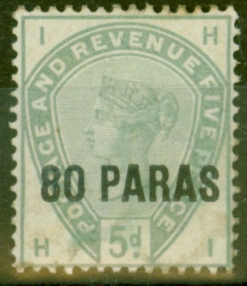 Valuable Postage Stamp from British Levant 1885 80pa on 5d Green SG2 Mtd Mint