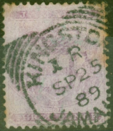 Old Postage Stamp from Jamaica 1874 3d Purple-Lilac SGF6 Ave Used