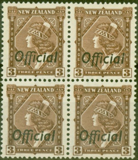 Old Postage Stamp from New Zealand 1938 3d Brown SG0125 V.F MNH Block of 4