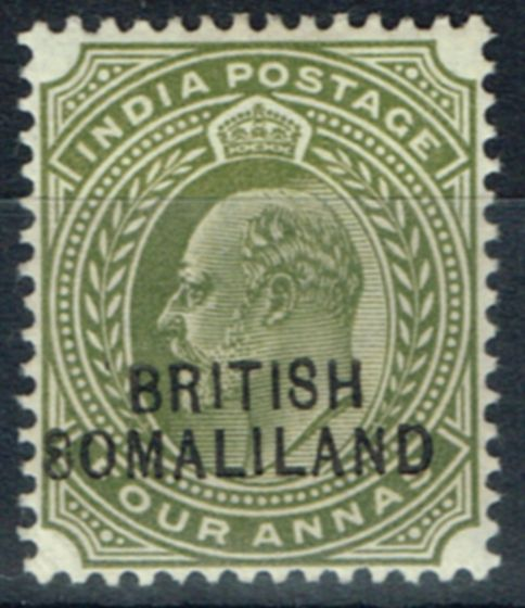 Valuable Postage Stamp from Somaliland 1904 4a Olive SG29Var 8 for S in 8omaliland Fine Mtd Mint