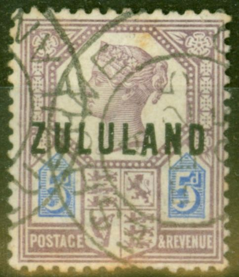 Collectible Postage Stamp from Zululand 1888 5d Dull Purple & Blue SG7 Good Used