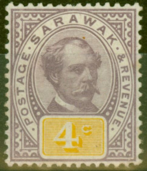 Collectible Postage Stamp from Sarawak 1888 4c Purple & Yellow SG11 Fine Mtd Mint