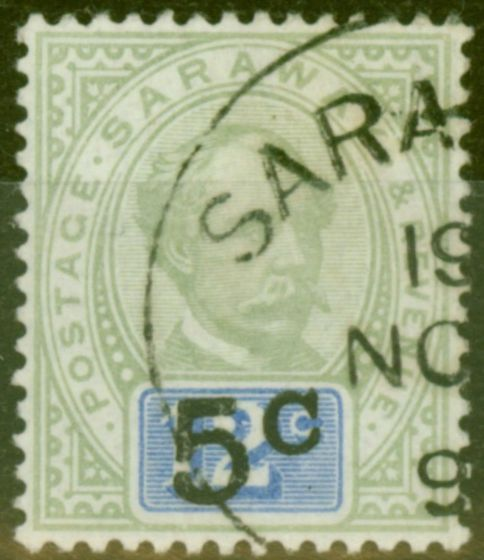 Valuable Postage Stamp from Sarawak 1891 5c on 12c Green & Blue SG26a Type 9 No Stop after C V.F.U