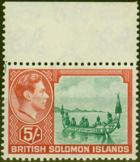 Collectible Postage Stamp from Solomon Islands 1939 5s Emerald-Green & Scarlet SG71 Fine MNH